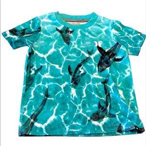Hurley shark teal Tshirt sz XS 4